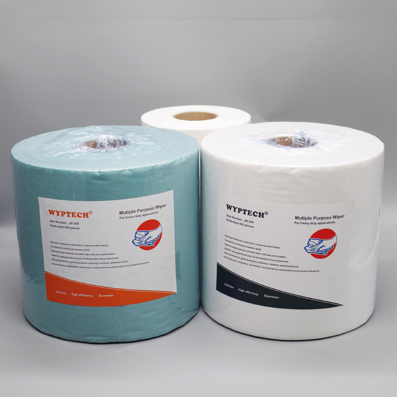 Light Wt. Spunlace Non Woven Non-Perforated Roll Wipers DRC Roll Wiper For Automotive Maintaining