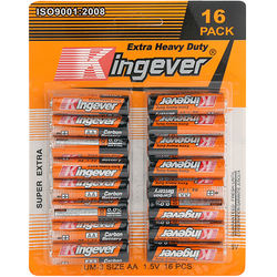 Super market packing 16PCS BLISTER CARD PACK R6 aa size battery for electronic toys