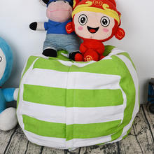 New Portable Canvas Stuffed Plush Toy Bag Foldable Kids Clothes Storage Bean Bag for Home Multi-Purpose Organizer Pouch