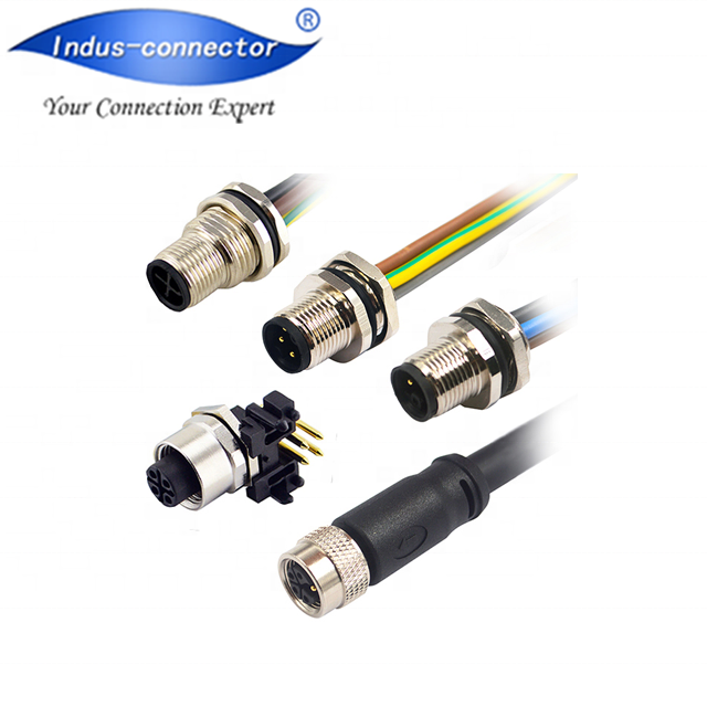 M12 cable 12A 630V shockproof and vibration S T L code molded plastic 4pin 5pin M12 cable connector power supplier
