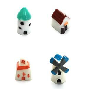 Tryme 4pcs /set Mini Resin Church Castle Windmill Shed Cabin House Fairy Garden Home Decoration Craft Micro Cottage Micro Landsc