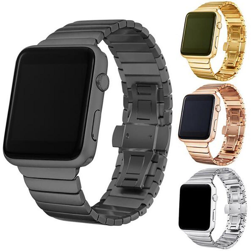 Stainless steel strap for apple watch band 38mm 42mm iwatch series4 series3 series2 series1 Butterfly Buckle strap