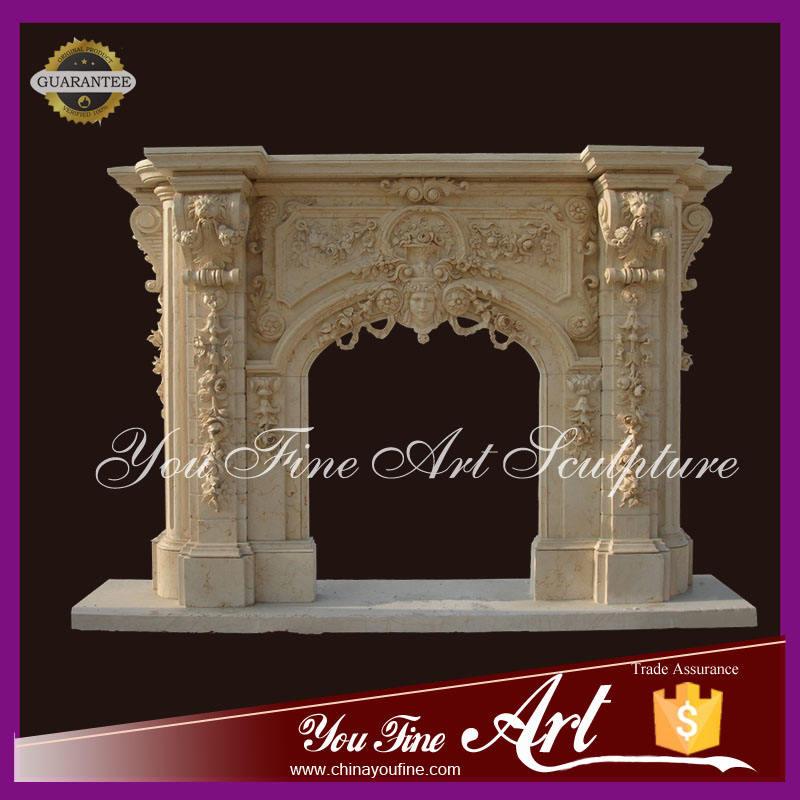 Decorado chimenea de mármol color Beige con <span class=keywords><strong>cabeza</strong></span> de león