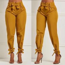 High Elastic Waist Harem Pants Women Spring Summer Fashion Ninth Pants Female Office Lady Black Trousers Belt E5002