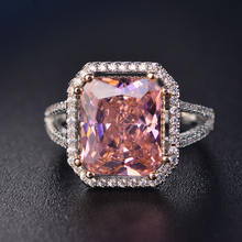 Cushion Cut Zircon Silver Pink Gemstone Stone Ring Cubic Zirconia Engagement Wedding Ring