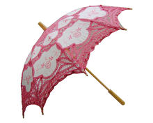 Promotional New Design Decoration High Quality Custom Handmade Straight Vintage Lace Wedding Umbrella