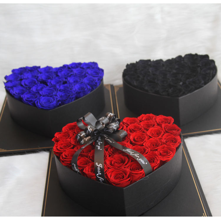 Christmas and Valentine's Day Preserved Long Lasting red/blue/black Roses Flower in Heart-shaped Gift Box