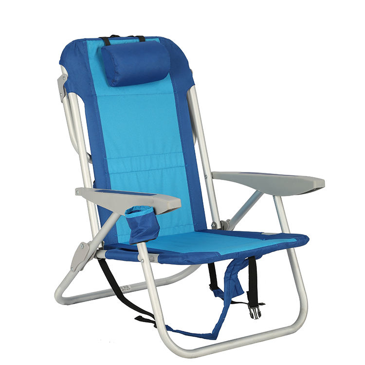 5 Position Lightweight Recliner Aluminium Backpack Folding Beach Chair with Cupholder