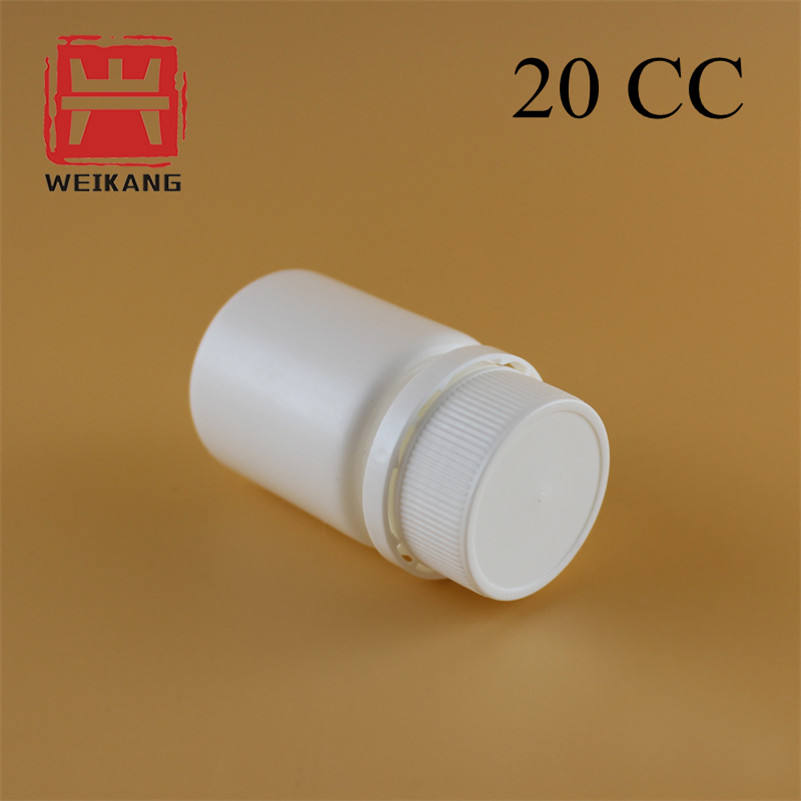 Wholesale 20cc White PE Plastic Vitamin Capsule Bottle/Supplement Pharmaceutical Pill Tablet Packing Jar Container