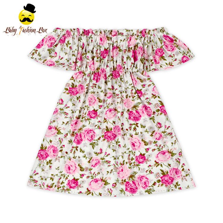 Alta calidad multi parten verano lindo impreso ruffle niñas niños vestido de fiesta