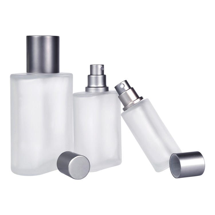 Free samples luxury 30ml 50ml 100ml frosted oblate shape glass mist spray perfume bottle with silver aluminum cap