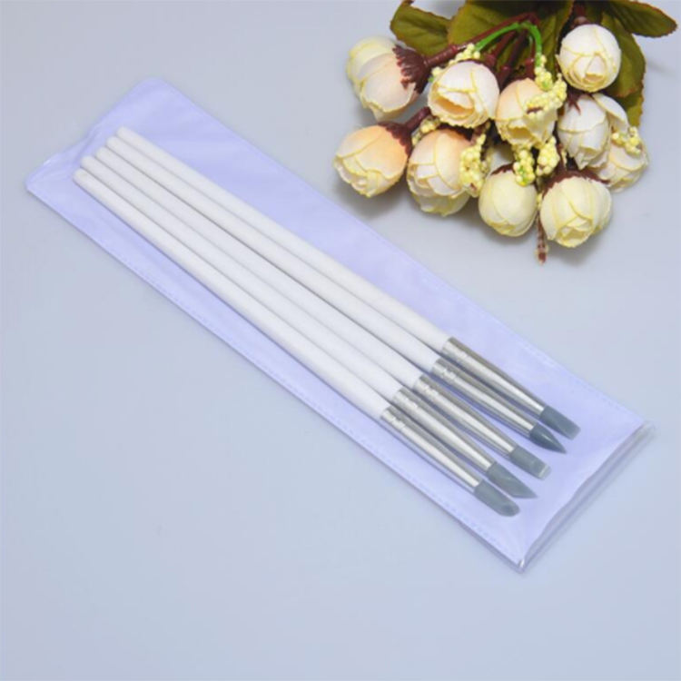 Newest wood Design 5 PCS Pen Set cleaning Silicone Brushes For Nail Beauty Care