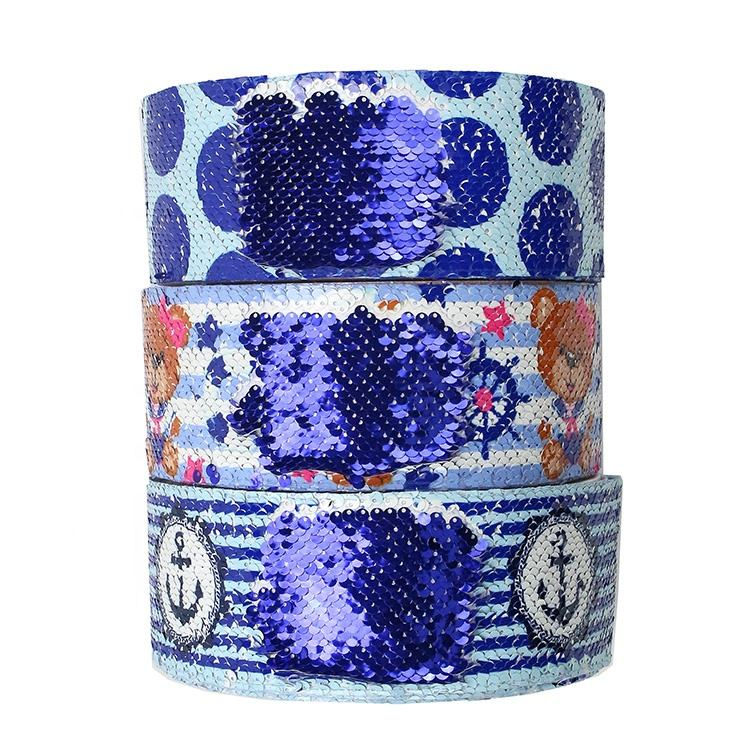 "Custom Printed 3"" Sequin Ribbon Blue For Headband Hair Bow Decoration"