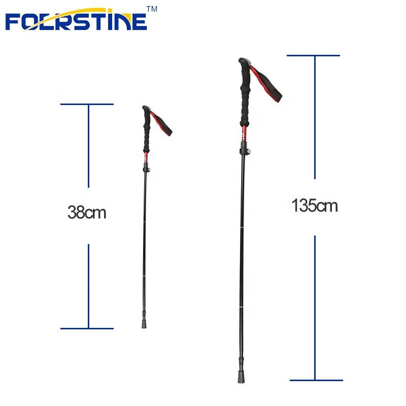 High Quality 38-135cm Safe Aluminum Walking Stick Lightweight Collapsible Folding Hiking Pole