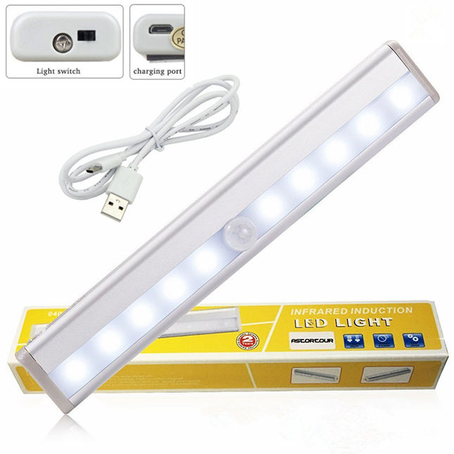 USB Rechargeable Closet Lampu Motion Sensor 10 LED Portabel Wireless Cahaya Bar Kabinet Dapur closet Cahaya Malam dengan Magnet