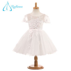 A-Line Short Sleeve Satin Tulle Elegant Flower Girl Dresses For Weddings