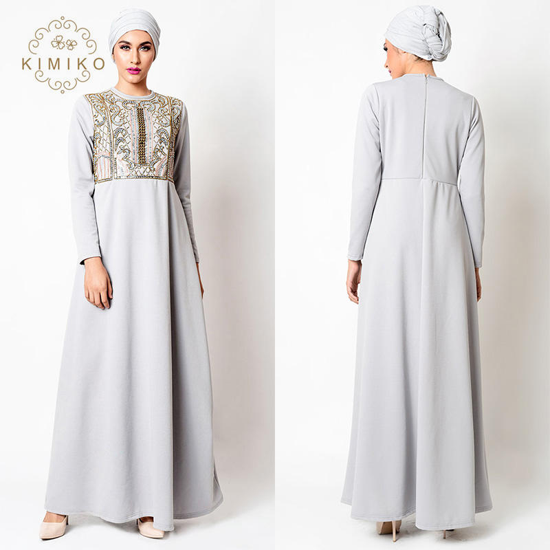 Long Sleeve Beaded Muslim Dress Ladies Maxi Muslim Abaya