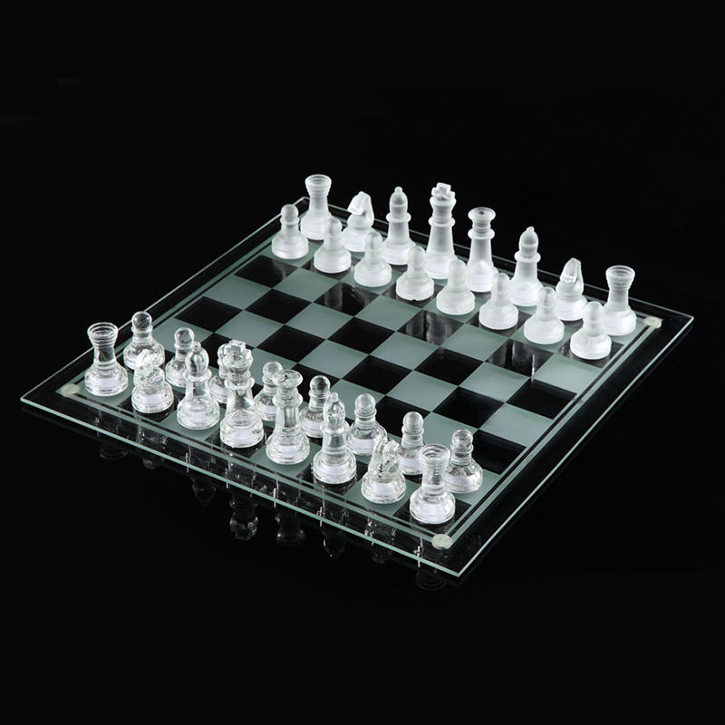 New Solid crystal Chess With Checker Board Set Matte And Clear Glass Chess Game Chessman Christmas Birthday Premium Gift