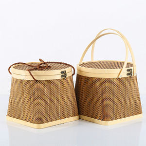Wholesale Bamboo Bread Basket, Bamboo Weaving Storage Basket For Sale, Round shape natural bamboo fruit basket