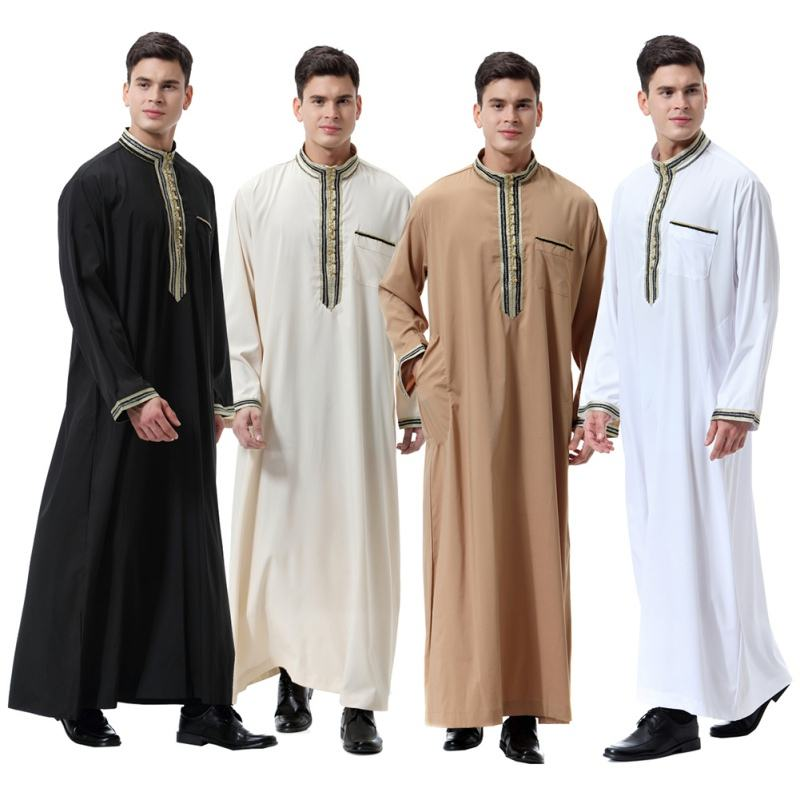 Latest Design 3xl White Long Sleeve Embroidery Islamic Thobe Arab Daffah Thobe Men Arab Dubai Indian Muslim Jubbah Clothing