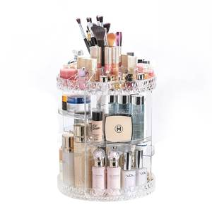 ZNH00024 Diamond Cut Pattern Multi-function Clear Acrylic 360 degree rotation rotating makeup organizer