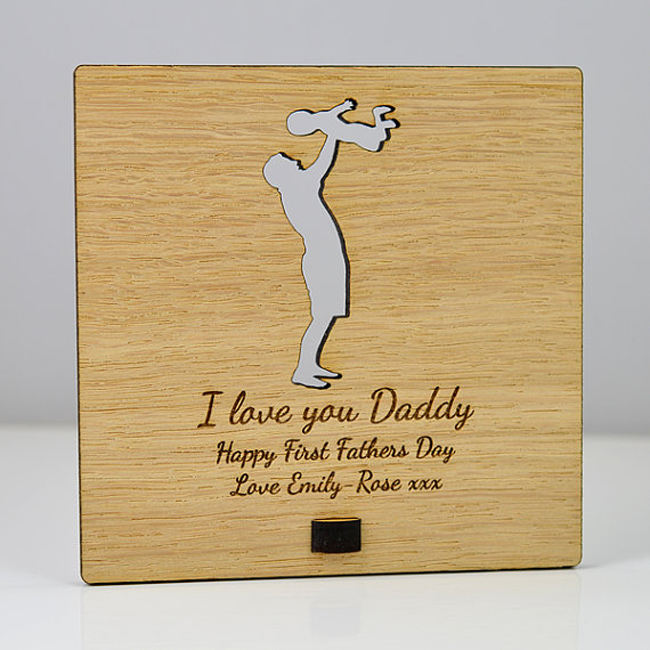 Personalized Custom carving Wooden Card for father's day gift