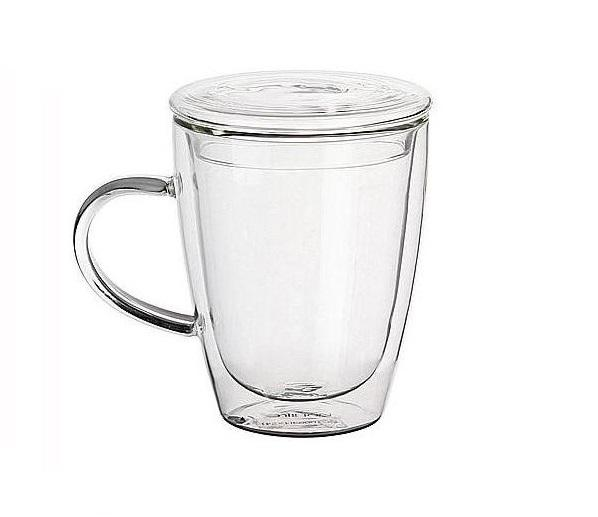 Double-wall 12 oz Borosilicate Glass Coffee Mug Cup With Cap, Insulated Coffee Tea Tumble With Lid
