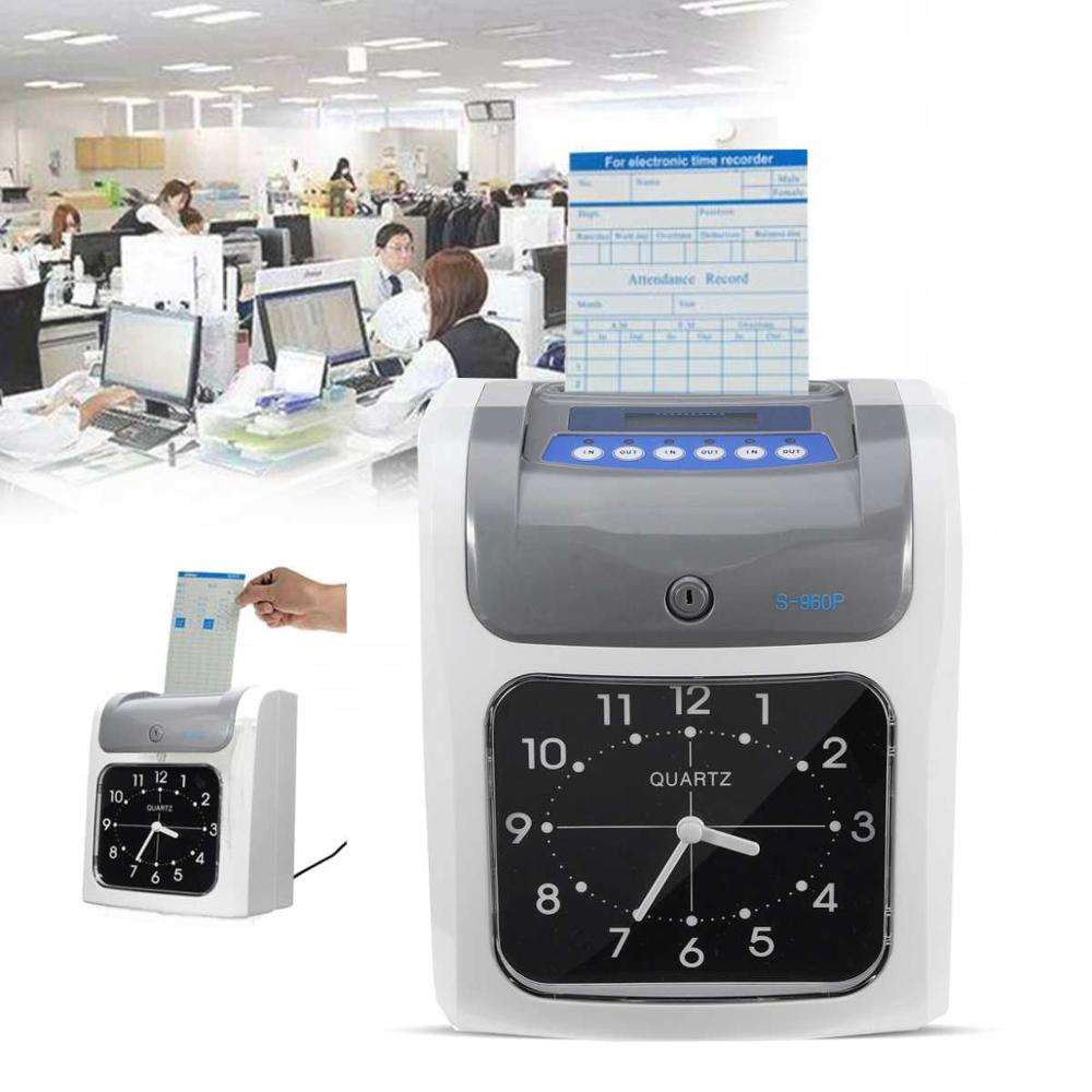 LCD Electronic Employee Attendance Time Clock In Out Recorder Desktop Timecard with Time Clock Cards Keys