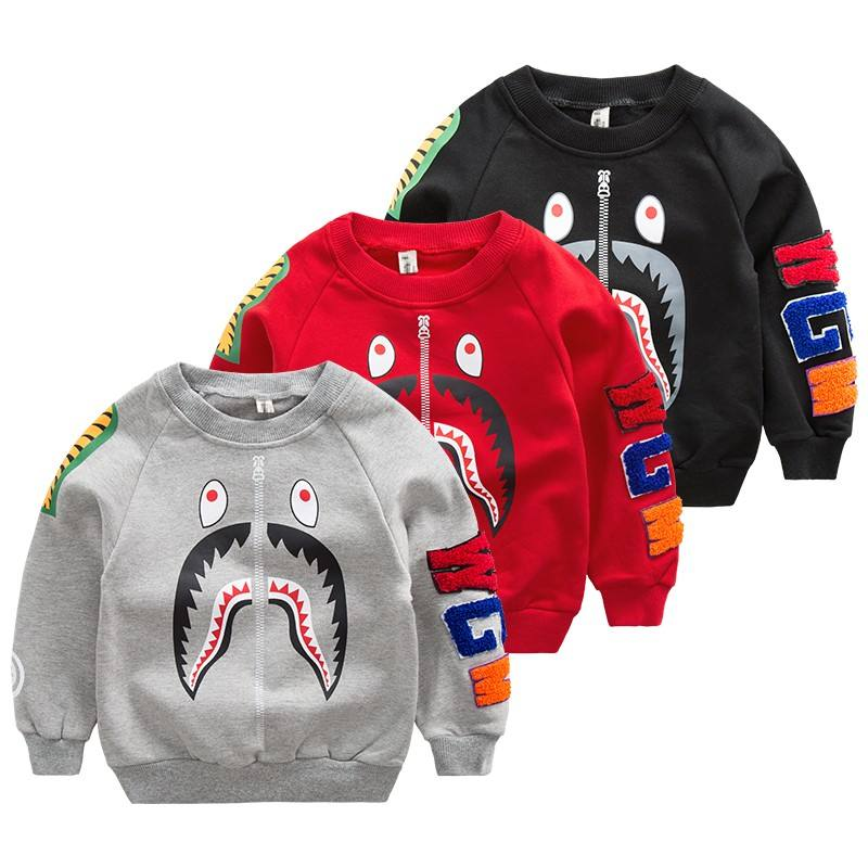 Kids Shark Printing Crew neck Pullover Sweatshirt Online Modeling Clothes
