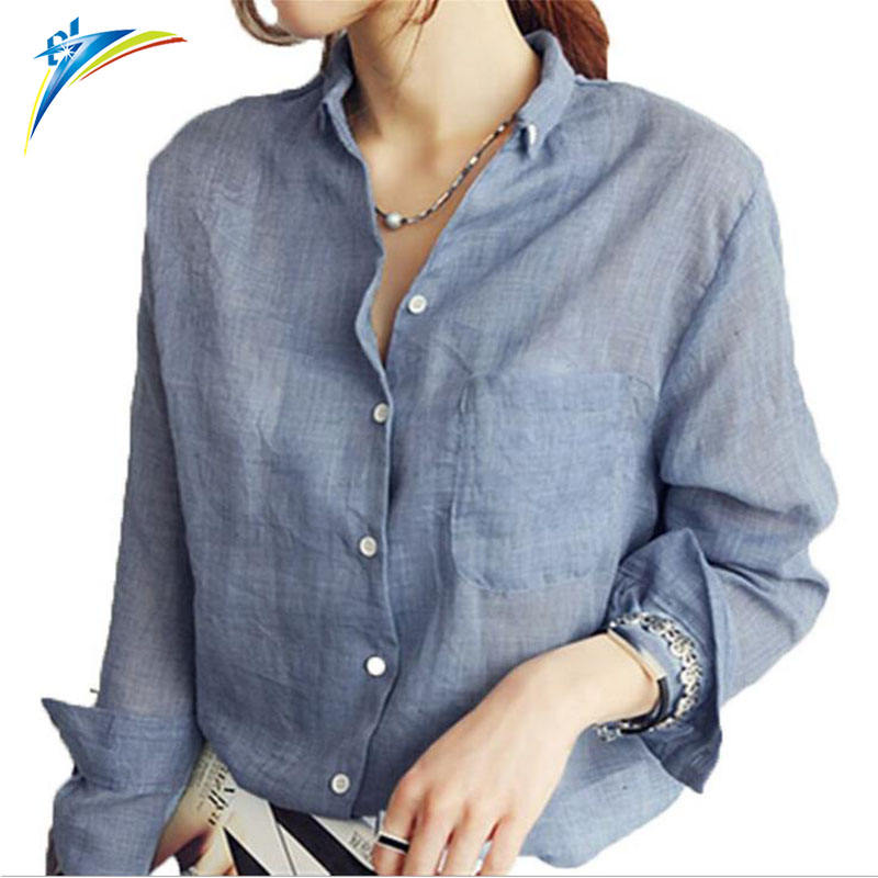 2019 Summer Ladies Blusas Chemise femininas Long Sleeve Shirt Tops Womens Clothing Linen Cotton White Blouses