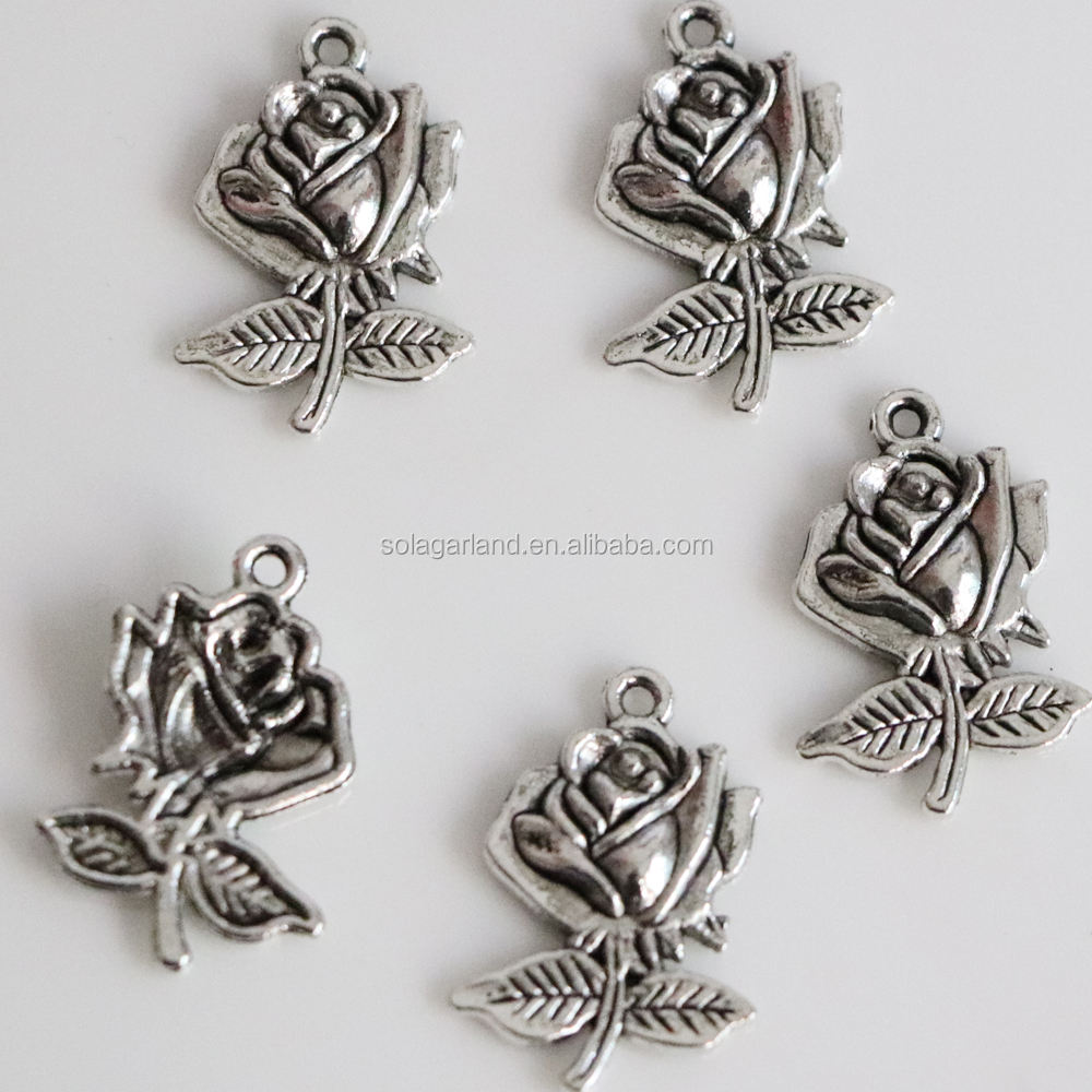 Hotsale Pretty Antique silver Tone Rose Charms With Stem For Necklace Making