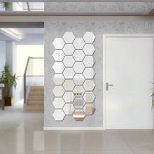 Customized Eco-friendly DIY Hexagonal Decoration  Art Mirror Wall Stickers for Living Room Bathroom Bedroom, dressing room