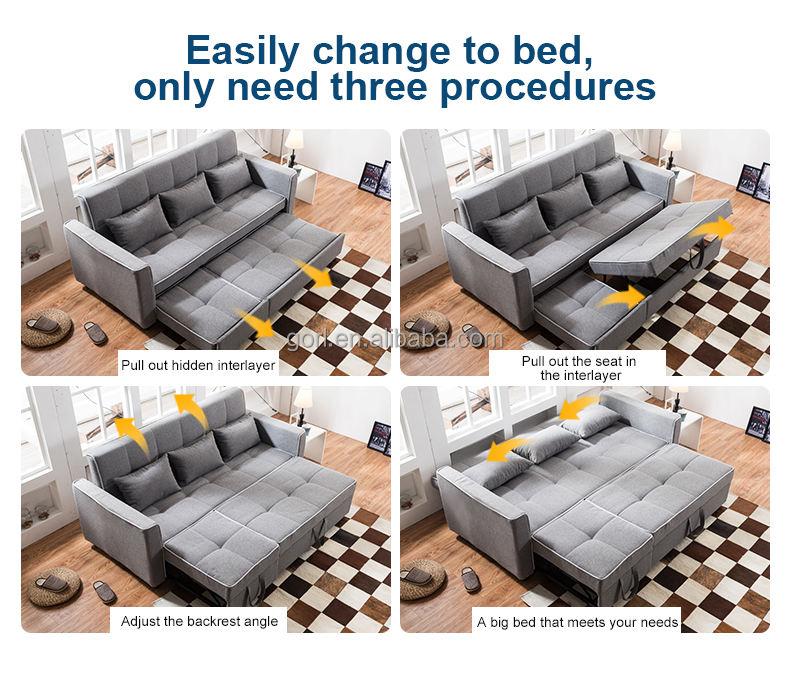 Muebles inteligentes GL029 euro perezoso metal sofá cama plegable