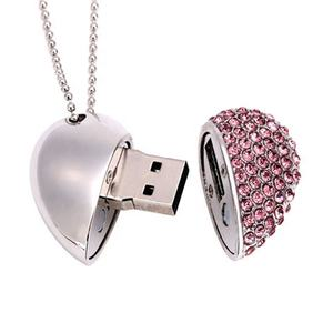 Fabricantes directos 8gb joyería colgante en forma de corazón U disco 16g usb Flash Drives Creative Gifts Set con cristal de diamante