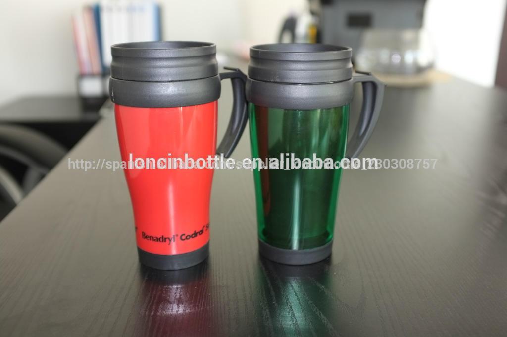 450ml taza térmica de plástico, termo de plástico vaso de café, 14oz básica de plástico doble aislados taza de viaje