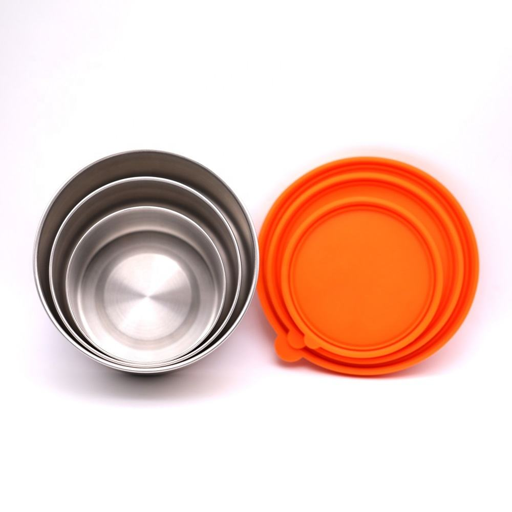 Eco lifestyle round shape food container with silicone lid 18/8 stainless steel lunch box set (3pcs)