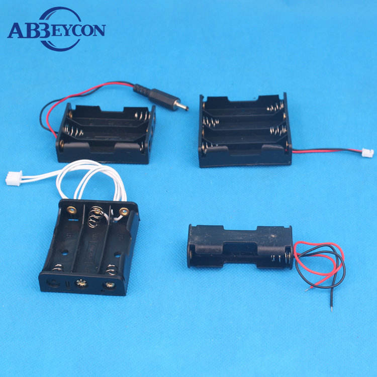 Professional Manufacturer 12V Battery Clip Slot Storage Holder Box Case 8 AA Batteries Stack 6 Leads Wire