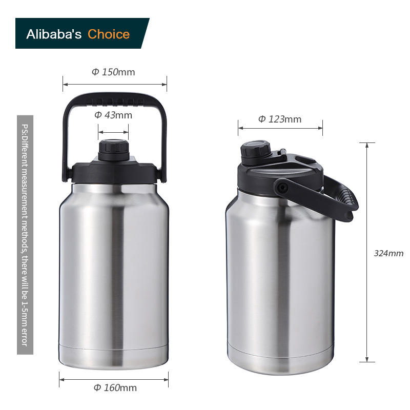 Logo Kustom Double Walled 1 Galon 128 Oz Stainless Steel Insulated Anggur Bir Growler Botol Air Produsen