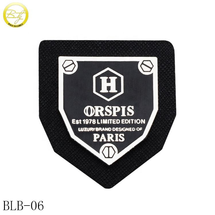 Custom jeans leather label embossed black logo leather patch tags for clothes