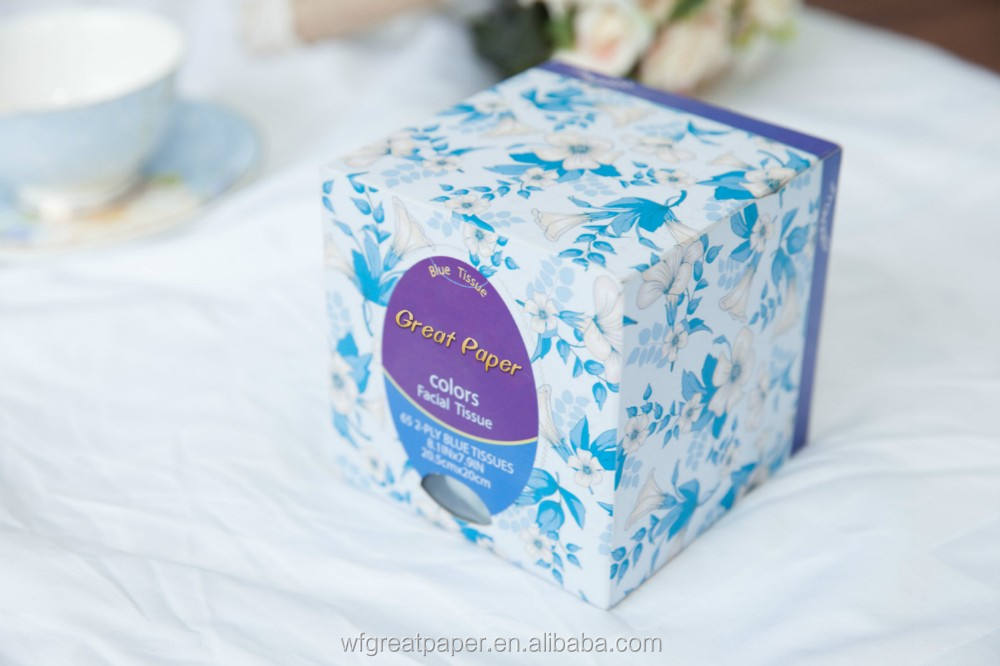 Customized logo wrapping tissue paper colors cube box folded facial tissue