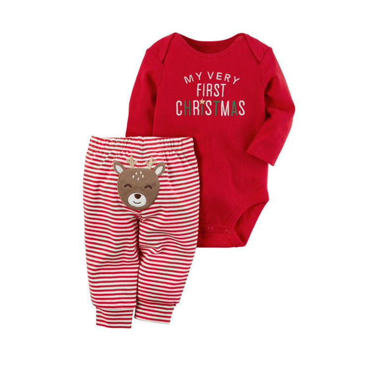 Wholesale High Quality Christmas Clothing Baby Romper Moose Design Long Sleeve Romper+Striped Pants