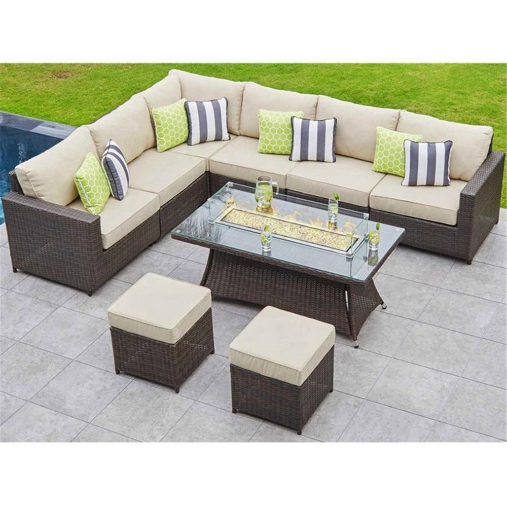 2019 Outdoor Patio Wicker Furniture Multifunctional Garden Leisure Rattan Sofa With Fire Pit Table