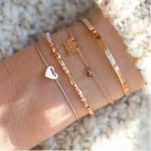 2019 Latest Design  Personalized Adjustable String Rope Cord Logo Charms Rose Gold Heart Bracelet For Women