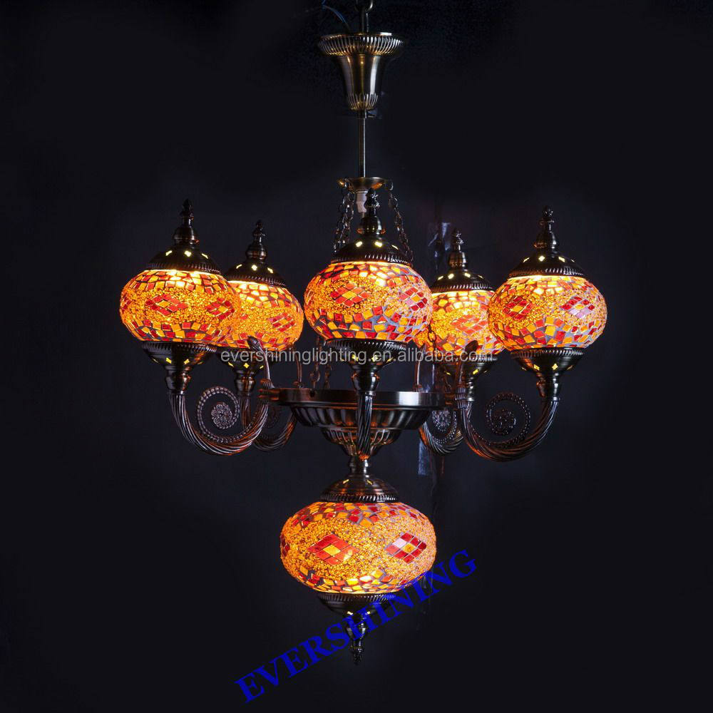 2019 NEW HOT Evershining Lighting YMA419-5 Charming 5 Balls Mosaic Hanging Pendant Light Turkish Ottoman Lamps