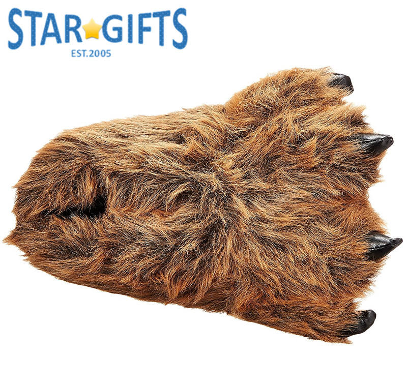 Adult Kid Warm Winter Bedroom Creative Fuzzy Animal Claw Slippers Shoe