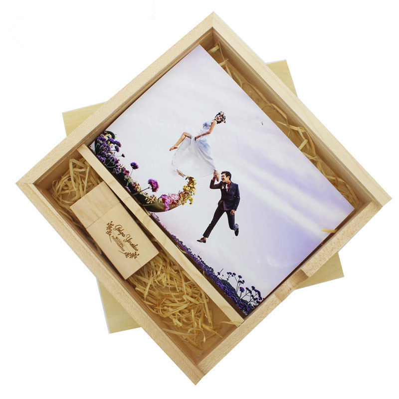 Maple Custom Photo Unique Album Wood Box USB 2.0 Memory Pendrive Photography Wedding Studio Hotel Cinema LOGO