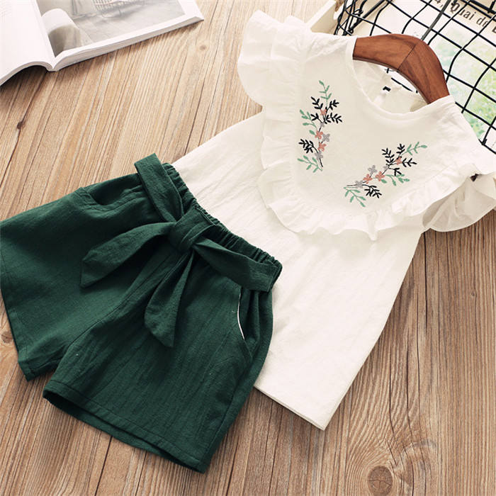 China Wholesale Summer European Fashion Kids Clothes Children's Suits Pictures Of Blouses For Girls
