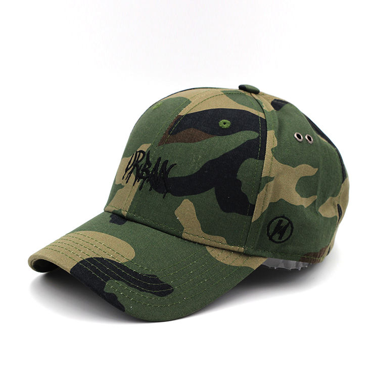 Special Design Metal Eyelet Army Camo Baseball Cap Long Strap