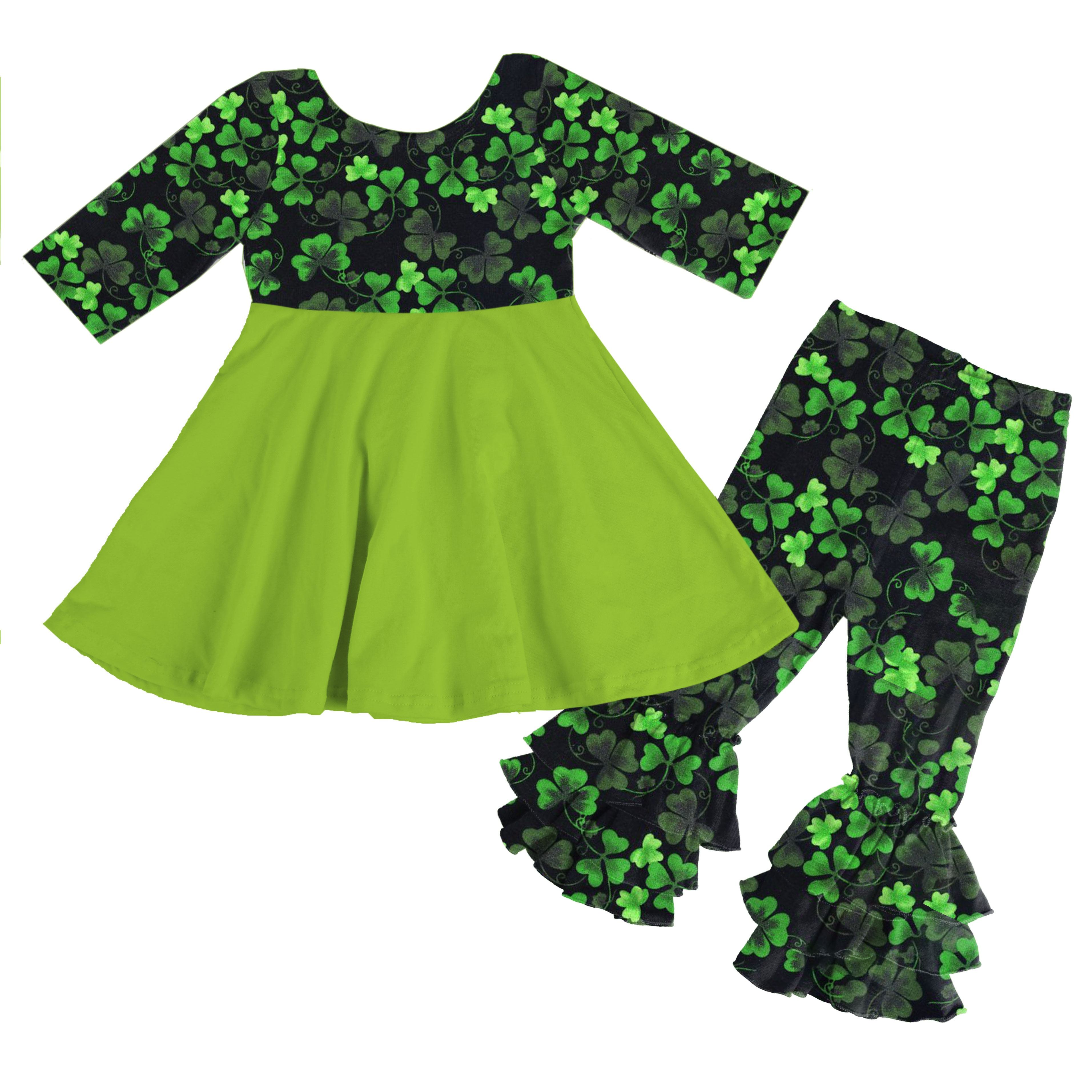 Neue design icing rüsche boutique outfits Großhandel St. patricks Tag baby mädchen outfit mit Vier-blatt <span class=keywords><strong>klee</strong></span>