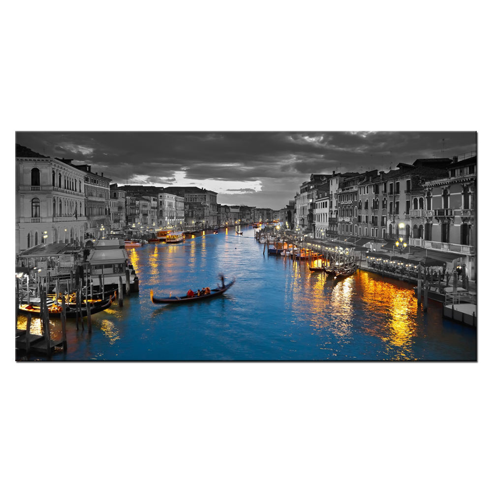 Venetië <span class=keywords><strong>Italië</strong></span> Canvas Wall Art Mooie Grand Canal Landschap Foto Night City Skyline Canvas Print
